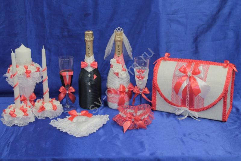 Набор коралловый (свечи, бокалы, шампанское, сундучок, подушечка, подвязка) арт. 053-184