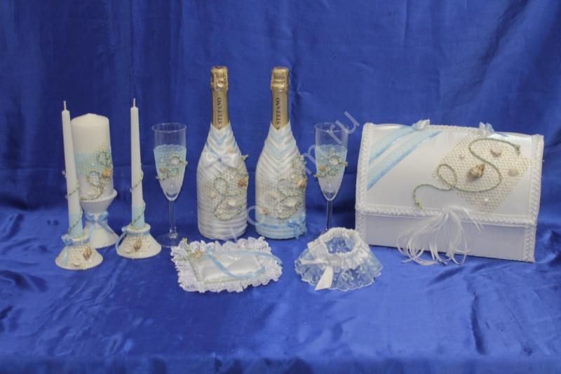 Набор морской (свечи, шампанское, сундучок, бокалы, подушечка, подвязка) арт. 053-194