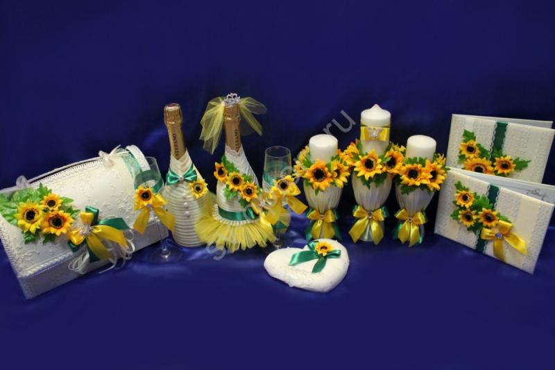 Набор с подсолнухами (свечи, бокалы, сундучок, шампанское, свидетельство и книга пожеланий) арт. 053-172
