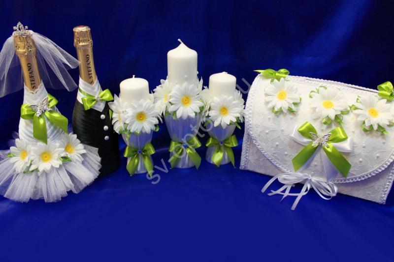 Набор с ромашками (шампанское, свечи, сундучок) арт. 053-173