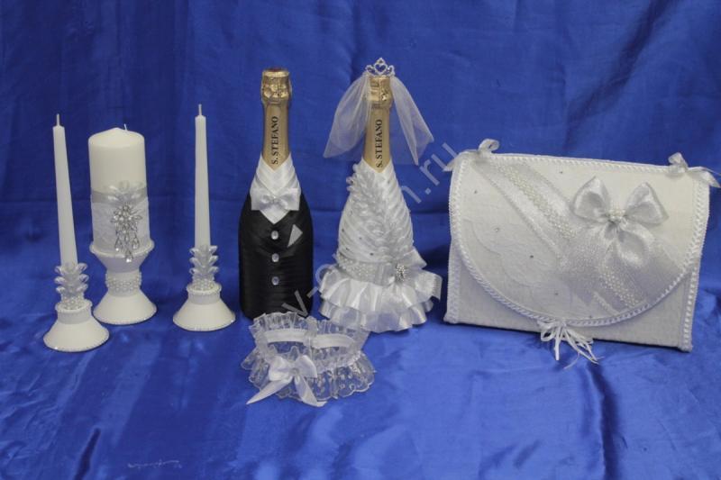 Набор серебро (свечи, шампанское, сундучок, подвязка) арт. 053-191
