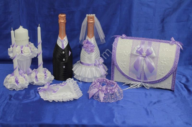 Набор сиреневый (шампанское, свечи, подушечка, сундучок, подвязка) арт. 053-183