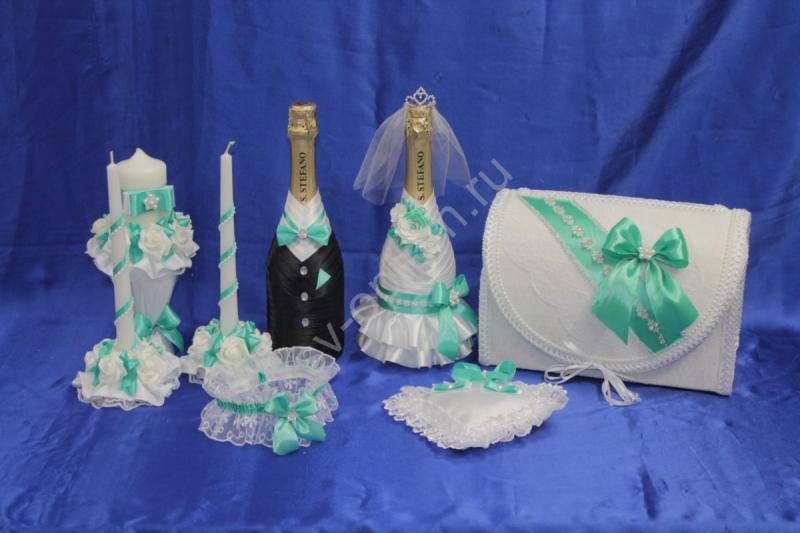 Набор тиффани (шампанское, свечи, сундучок, подвязка, подушечка) арт. 053-185