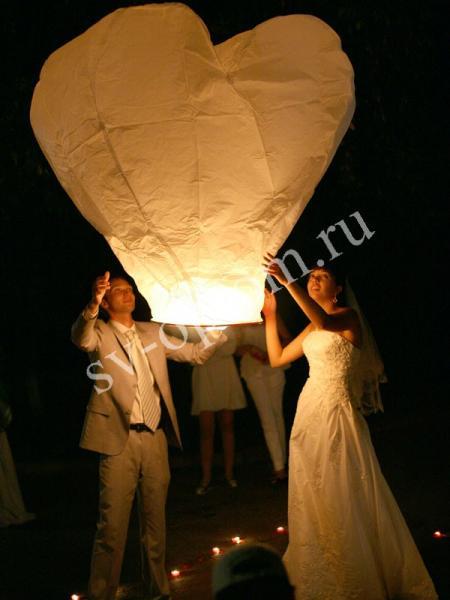 """Небесный фонарик """"Сердце"""" (высота 70см) Цвета в ассортименте арт. 079-007"""