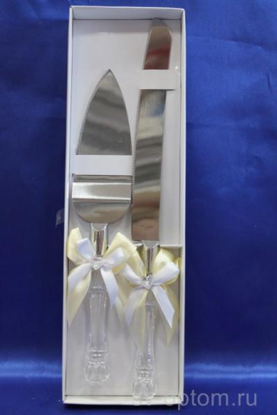 Нож и лопатка с бело-кремовым бантиком, арт.050-019