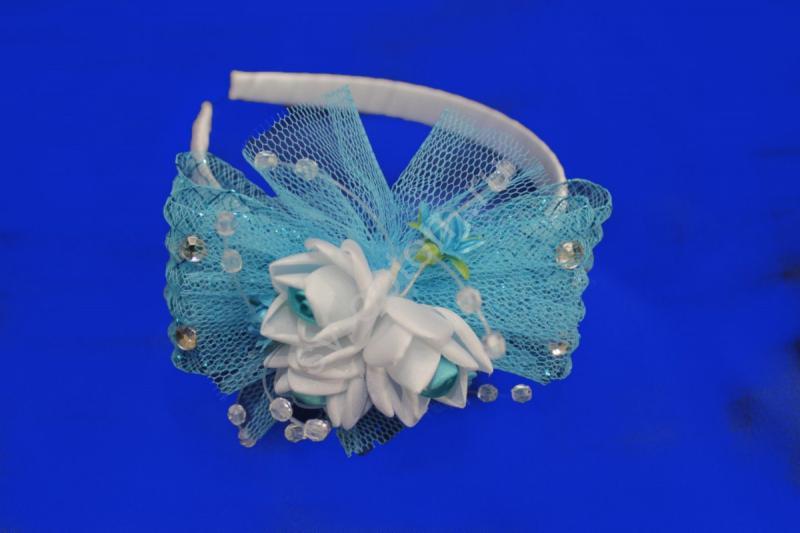 Обруч на голову (бело-голубая) арт. 033-342