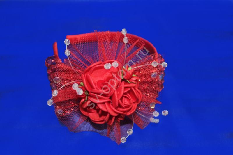 Обруч на голову (красный) арт. 033-341
