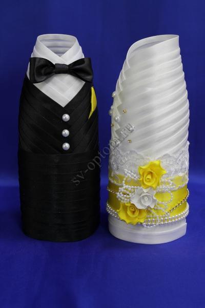 Одежда для шампанского бело-желтая  арт.047-009