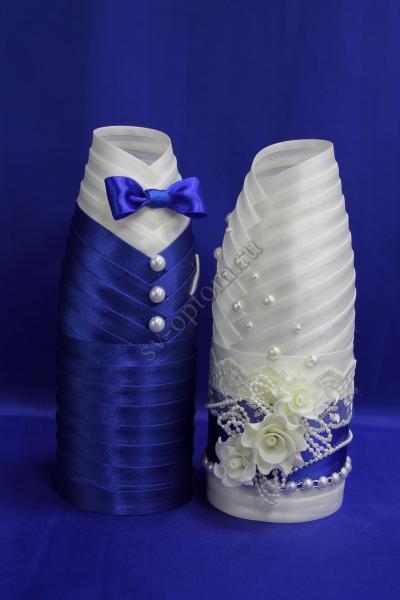 Одежда для шампанского бело-синяя  арт.047-012