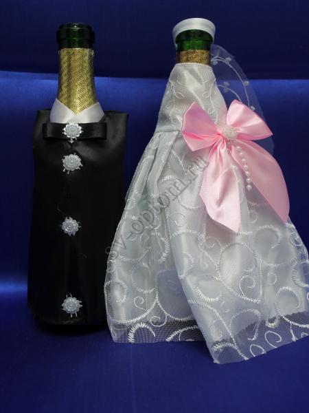 Одежда для шампанского цвет бело-розовая  арт. 047-152
