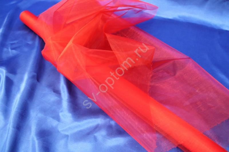 Органза ширина 70см, длина 10м Цвет: Красный арт. 131-003