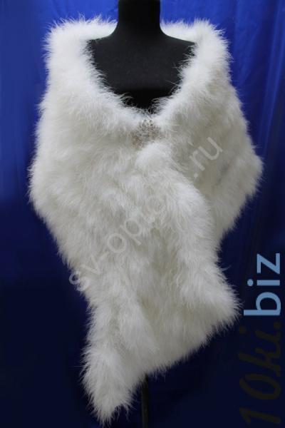 Палантин из лебяжьего пуха молочный, белый арт. 016-095 Платки, шали, палантины в Москве