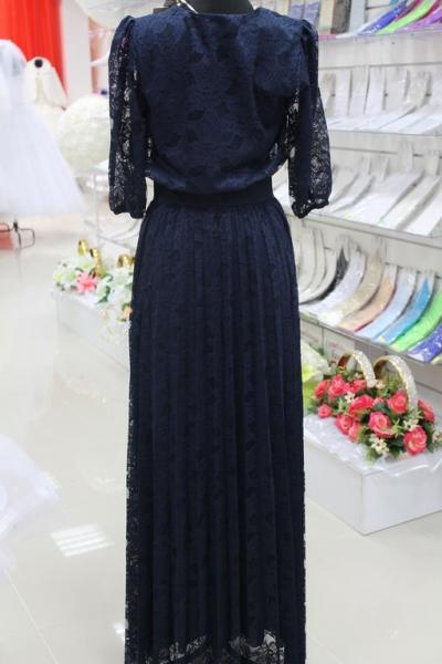 Платье вечернее Вид сзади Цвет:синий. Размеры 38,40,42. арт. 012-018