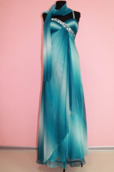 Платье вечернее Цвет: бирюзовый с белым Размеры М,XL арт. 012-006