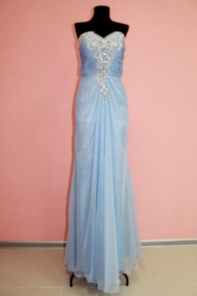 Платье вечернее Цвет: голубой Размеры S,M арт. 012-003