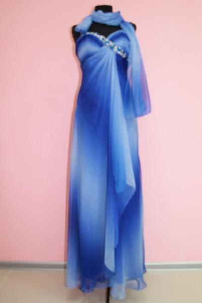Платье вечернее Цвет: синий с белым Размер L арт. 012-005