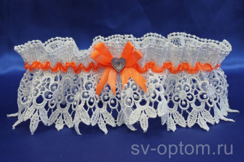 """Подвязка """"Макраме"""" с оранжевой лентой арт. 019-151"""