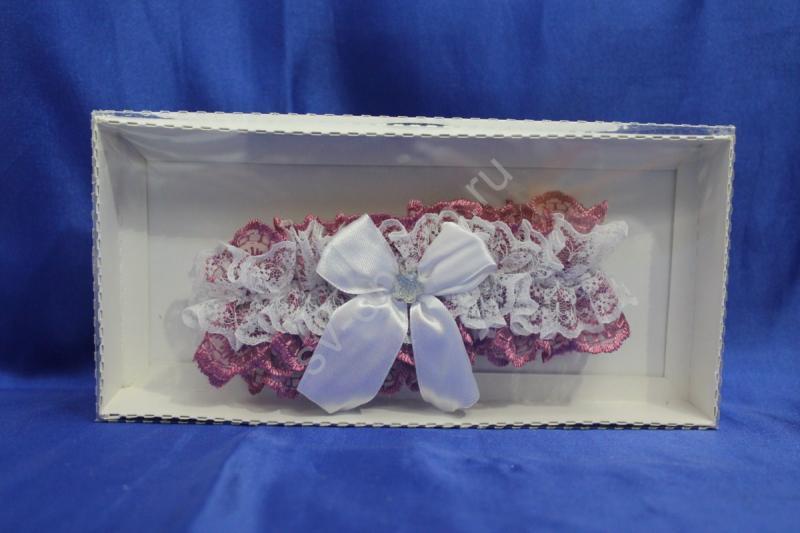 Подвязка кружевная вишнёвая в коробочке арт. 019-120