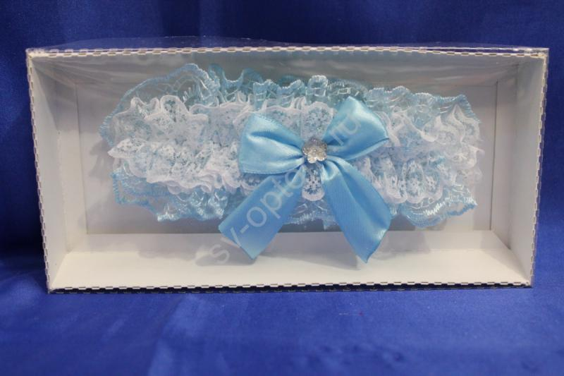 Подвязка кружевная голубая в коробочке арт. 019-105