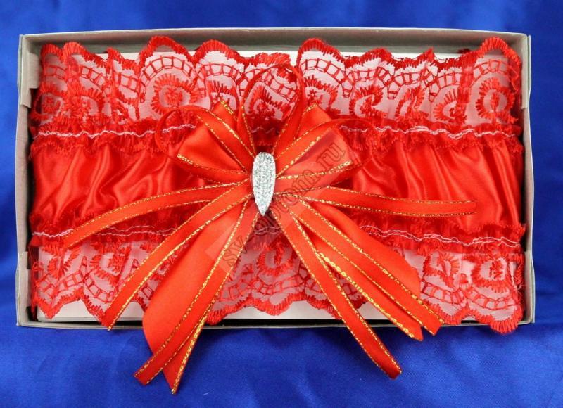 Подвязка кружевная красная  с бантом в коробочке арт. 019-090