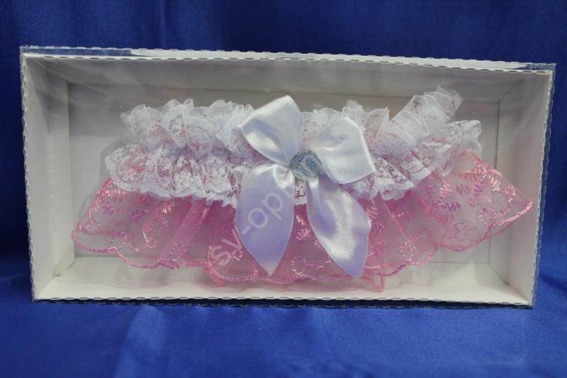 Подвязка кружевная розовая в коробочке арт. 019-112