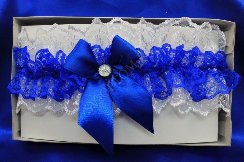 Подвязка кружевная Цвет: Бело-синий арт. 019-050