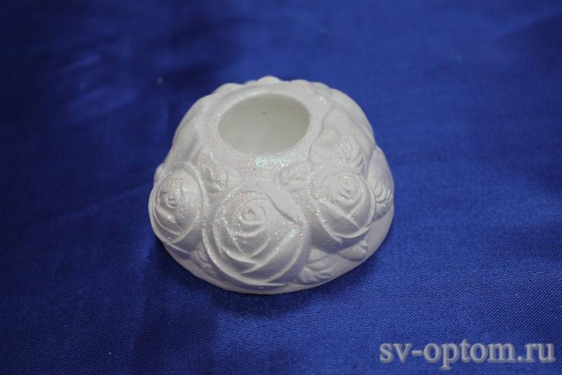 """Подсвечник гипсовый """"Роза"""", белый, для родительских свечей 063-022"""