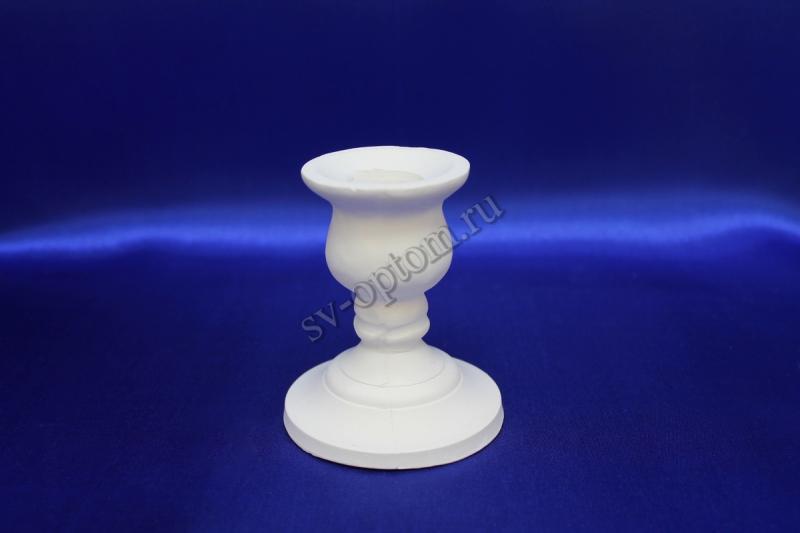 Подсвечник гипсовый, белый для родительских свечей ( высота 9x7,7см).  арт.063-012
