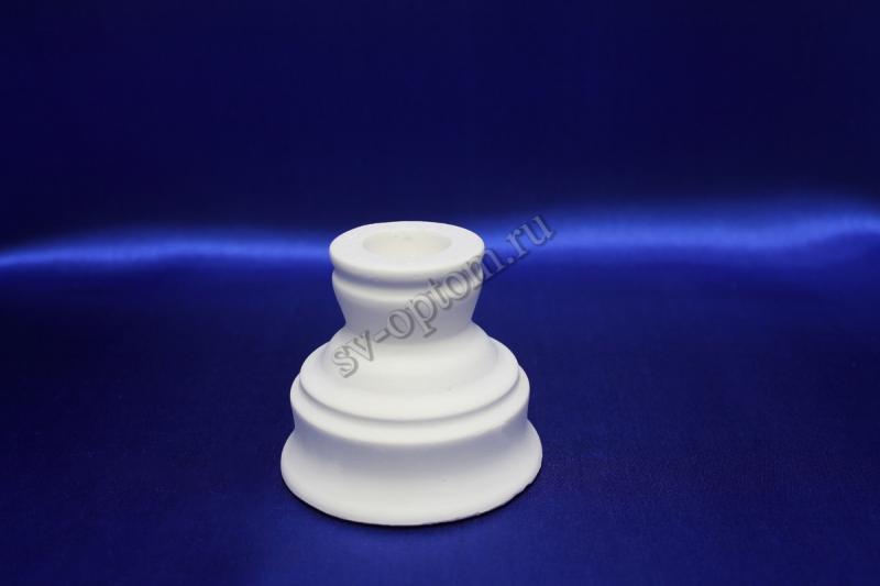Подсвечник гипсовый, белый, для родительских свечей (6,5x7,5) . арт.063-010