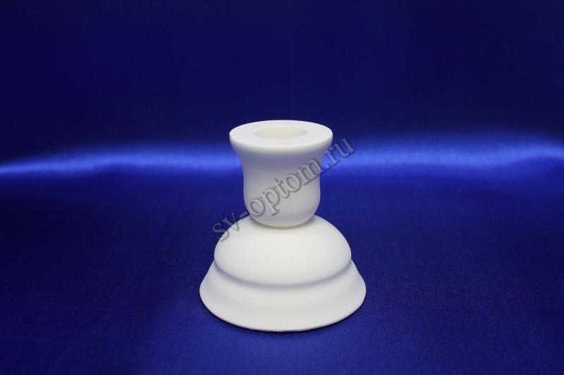 Подсвечник гипсовый, белый, для родительских сечей, высота (7.5x8см). арт.063-011