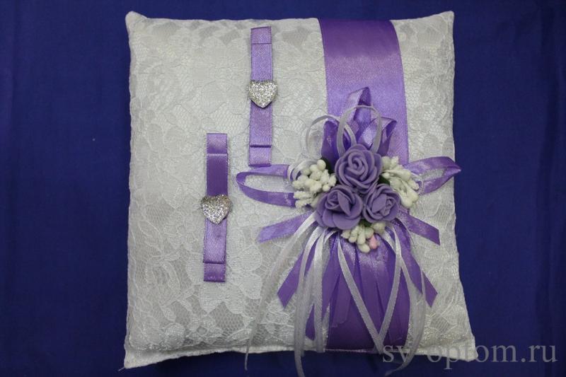 Подушка для колец Цвет: Белый с сиреневой лентой арт. 117-126