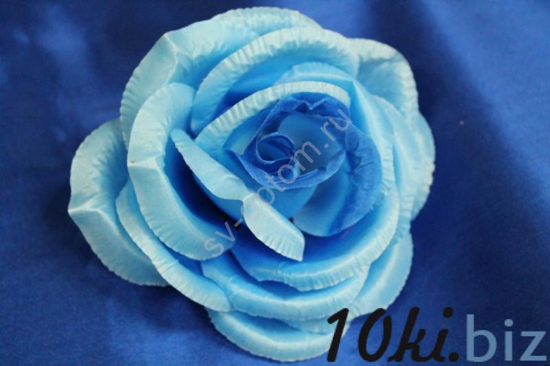 Роза голубая блестящая (головка) Мин. заказ от 10шт! арт.137-016 Искусственные цветы и растения, композиции, топиарии в Москве