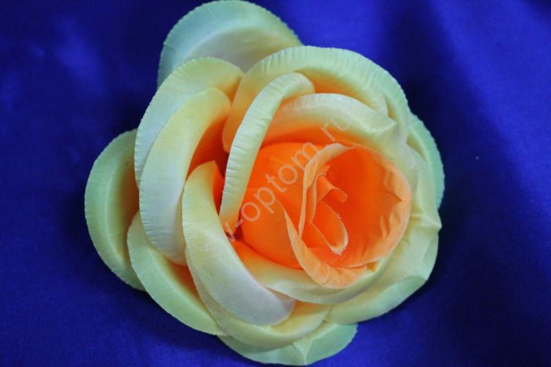 Роза желтая блестящая (головка) Мин. заказ от 10шт! арт.137-014