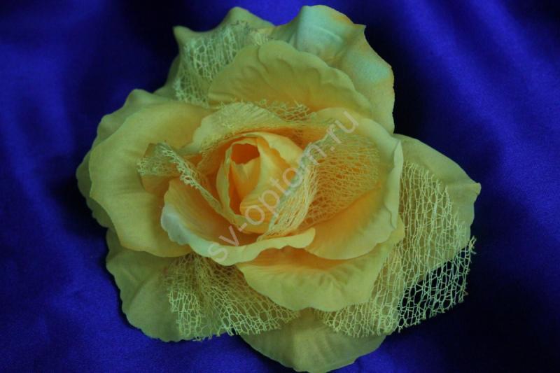 Роза желтая с сеткой (головка) Мин. заказ от 10шт! арт. 137-034