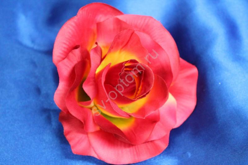 Роза розовая с желтой серединкой матовая (головка) Мин. заказ от 10шт! арт.137-006