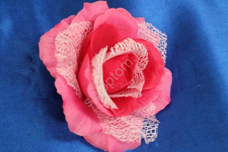 Роза розовая с сеткой (головка) Мин. заказ от 10шт! арт. 137-032