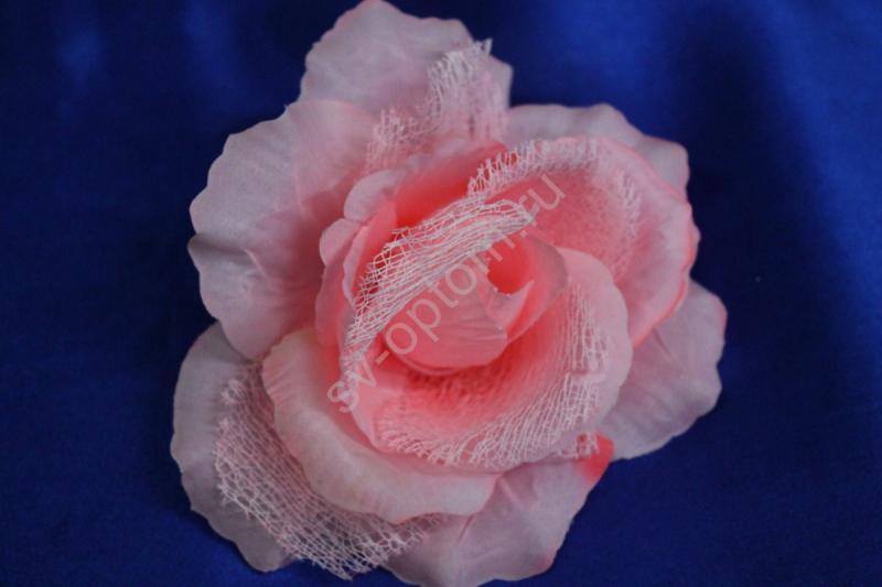 Роза светло-розовая с сеткой (головка) Мин. заказ от 10шт! арт. 137-030