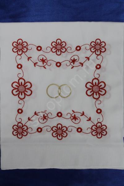 """Рушник """"Красный цветочный орнамент"""",  машинная вышивка,  арт. 070-058"""