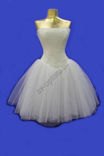 Свадебное платье пачка-короткаое, жемчуг цвет Айвори  раз.46,арт.011-004