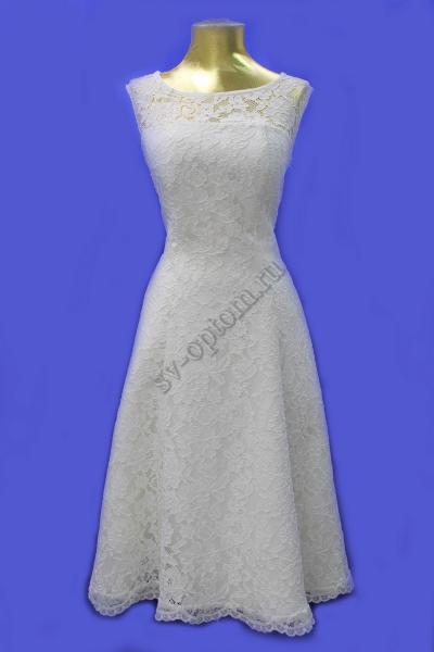 Свадебное платье, А-силуэт-кружево-айвори раз.46 арт.011-002