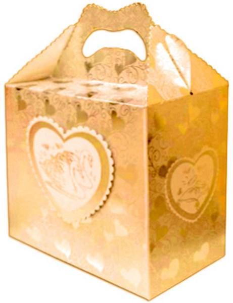 Свадебный сундучок для денег, золотая фольга, фигурная вырубка арт. 071-142