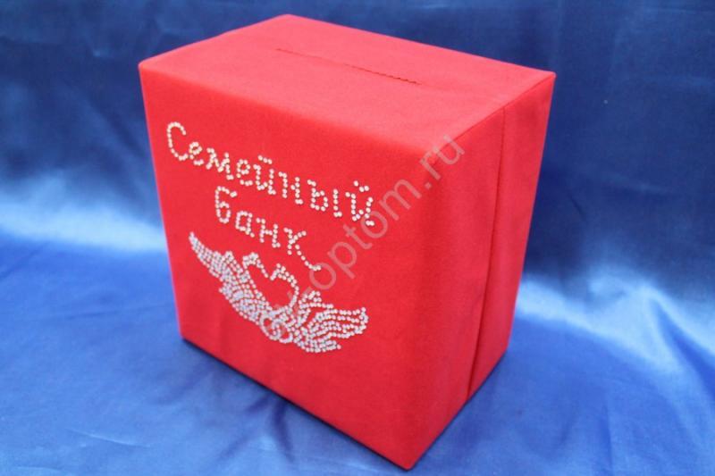 Семейный банк бархатный красный с лебедями стразы арт. 071-129