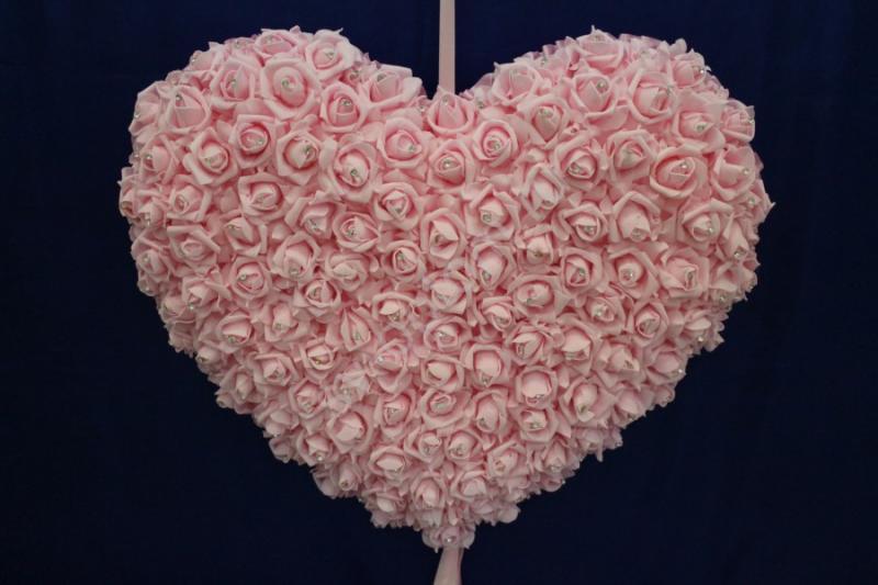 Сердце с латексных роз; 70см; Розовое арт. 098-041