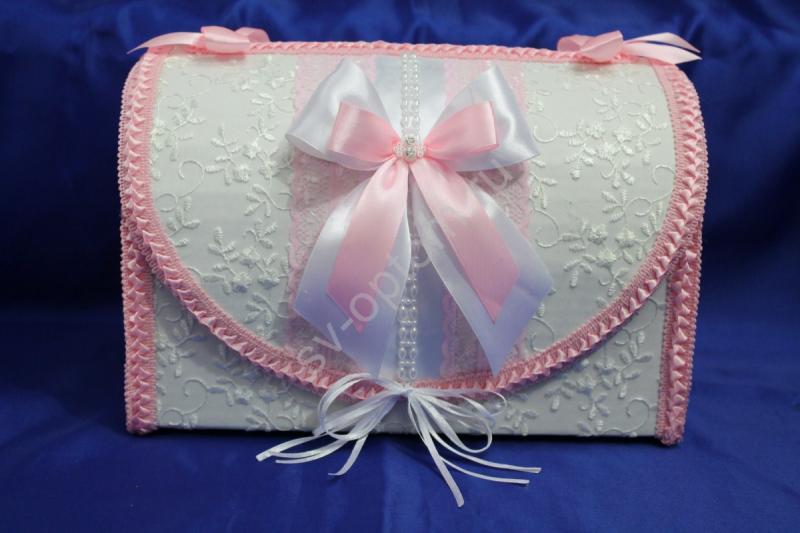 Сундук для денег  белый с розовым бантиком арт. 071-105