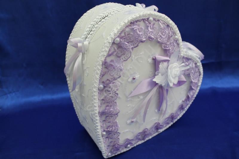 """Сундук для денег """"Сердце"""" белое с сиреневым кружевом арт. 071-135"""
