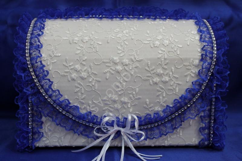 Сундук для денег с белым кружевом (синяя окантовка) арт. 071-177