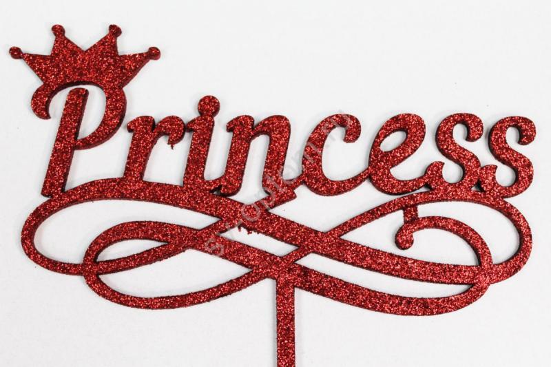 """Топпер """"Princess"""" 29*16см+ножка (красный глиттер) арт. 007-110"""
