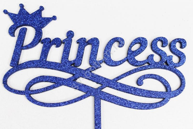 """Топпер """"Princess"""" 29*16см+ножка (синий глиттер) арт. 007-112"""