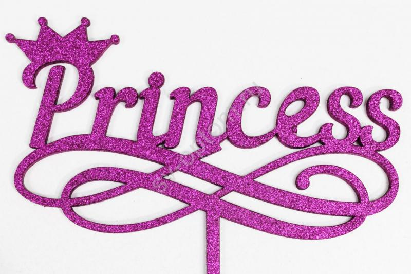 "Топпер ""Princess"" 29*16см+ножка (фиолетовый глиттер) арт. 007-111"
