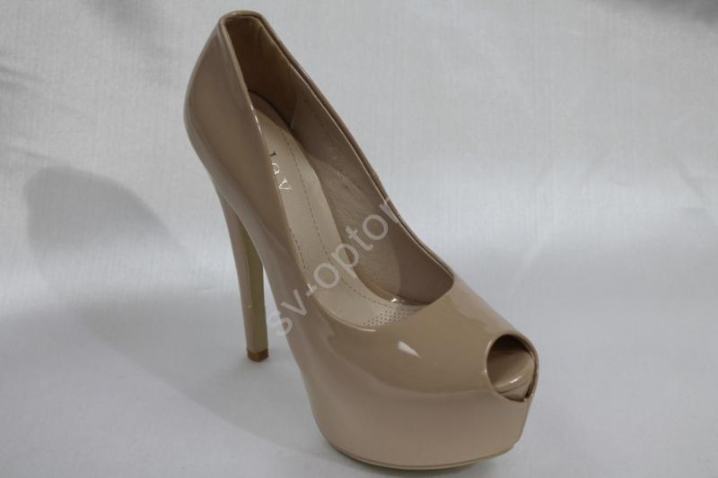 Туфли С-206 бежевые, лак, каблук 15см р.36-41 ВСЕ РАЗМЕРЫ